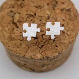 Puzzle Piece Autism Awareness Silver Post Earrings